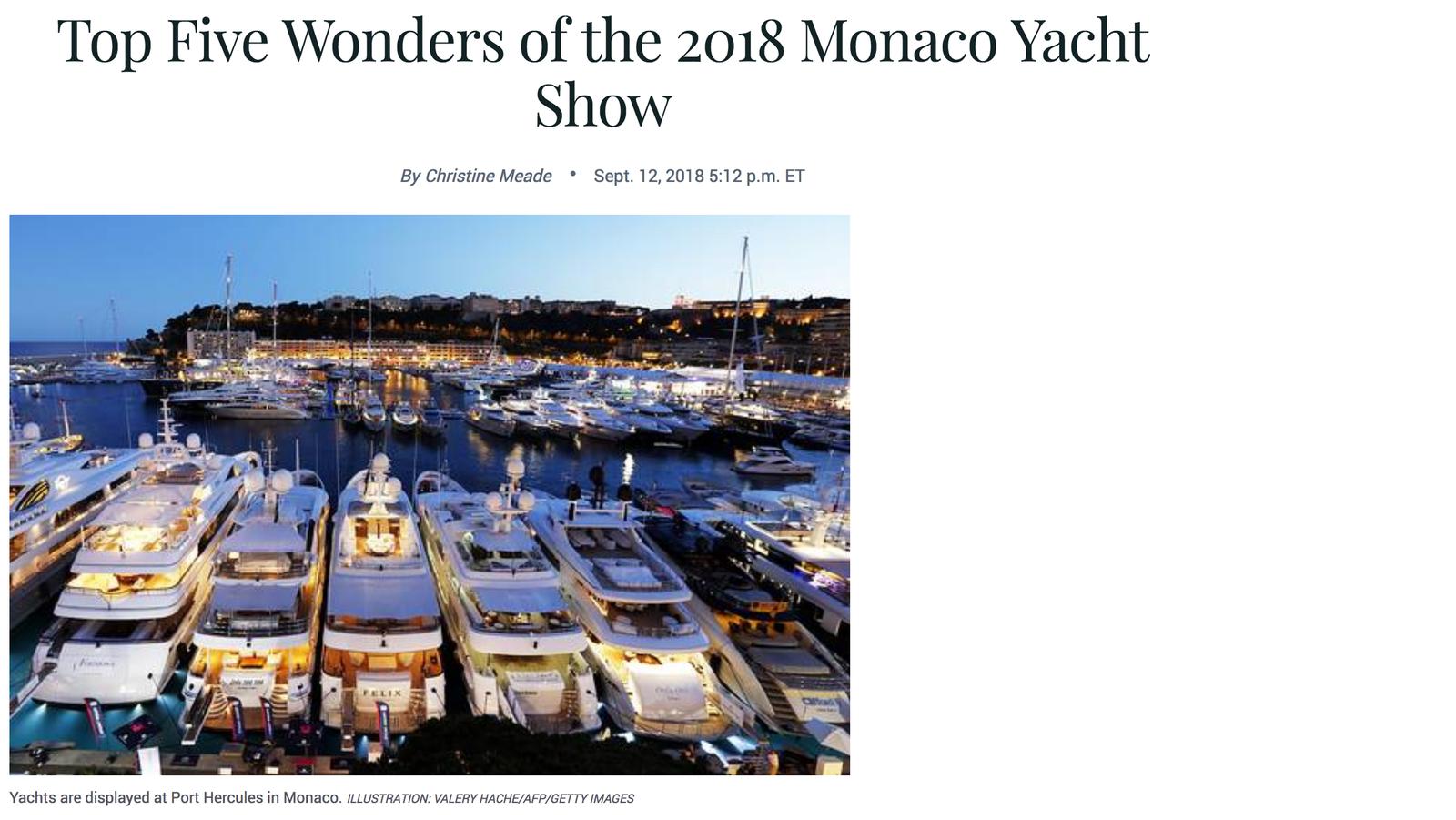top five wonders of the 2018 Monaco Yacht Show